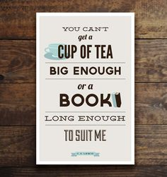 Tea & Book, CS Lewis quote print