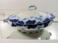Flow Blue China Covered Vegetable Bowl  Vintage by DivineOrders, $189.00