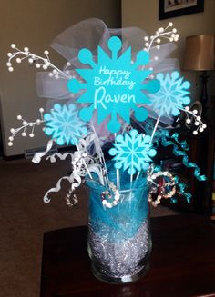 Decoration for Frozen birthday party.