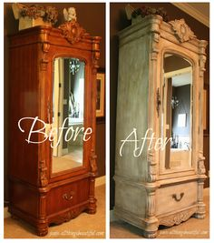 transforming a wood armoire into a painted treasure, chalk paint, painted furniture Refurbished Furniture, Paint Furniture, Repurposed Furniture, Furniture Projects, Furniture Makeover, Antique Furniture, Armoire Makeover, Diy Projects, Bedroom Furniture