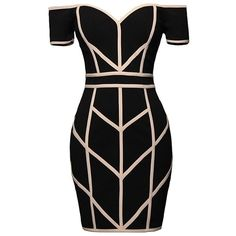 Line Command Dress (€75) ❤ liked on Polyvore featuring dresses, geo dress, bodycon dress, off the shoulder bodycon dress, geometric design dresses and geometric print bodycon dress