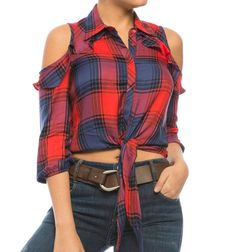 Blusa camisera de amarre Plaid Outfits, Chic Outfits, Summer Outfits, Fashion Outfits, Thrift Store Diy Clothes, Bow Shirts, Girls Fashion Clothes, Diy Clothing, Blouse Designs