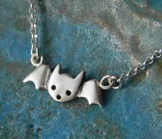 Cute bat sterling silver necklace Halloween by Fingerprince, $33.00