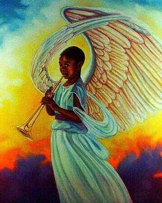 Awww heavenly angel blow your trumpet Black art - angel African American Art, African Art, Caricatures, Entertaining Angels, Angel Artwork, Angel Guide, Black Jesus, I Believe In Angels, Black Art Pictures