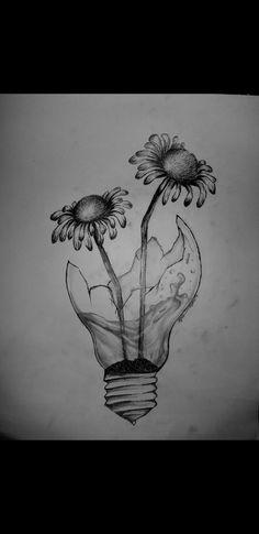 Daisy drawing in lightbulb - # - # Dark Art Drawings, Girly Drawings, Art Drawings Sketches Simple, Pencil Art Drawings, Drawing Ideas, Unique Drawings, Fleurs Art Nouveau, Daisy Drawing, Surrealism Drawing