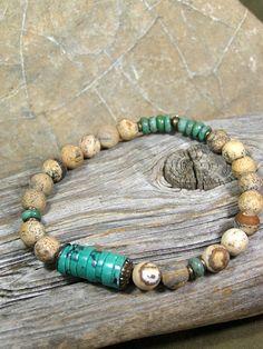 Mens Bracelet - Turquoise Bracelet - Matte Jasper Stones - Mans Jewelry - Guys Bracelet - Stretch Bracelet Tribal Bracelets, Bracelets For Men, African Beaded Bracelets, Beaded Jewelry, Tribal Jewelry, Men's Jewelry, Men Accesories, African Jewelry, Bracelet Set