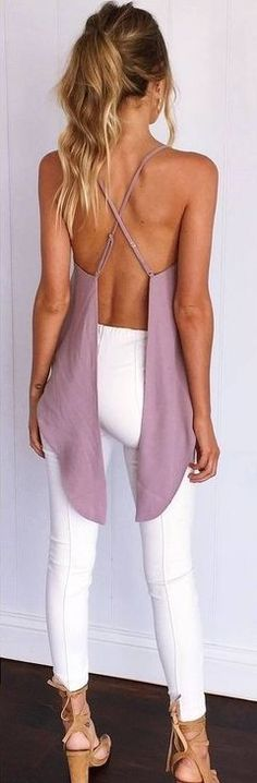 #summer #muraboutique #outfitideas | Pink Lovely Back Top + White Jeans