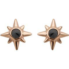 Earthy Chic Boutique 14K & Black Diamond Starburst Studs ($240) ❤ liked on Polyvore featuring jewelry, earrings, 14 karat gold jewelry, stud earrings, studded jewelry, 14k earrings and 14 karat gold stud earrings