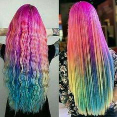 Rainbow hair curl, and street
