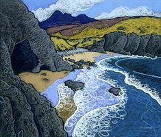 Porthmelgan, Pembrokeshire, Wales by Chris Neale Landscape Art, Landscape Paintings, Illustration Art, Illustrations, Guache, Art Moderne, Paintings I Love, Naive Art, Art Plastique