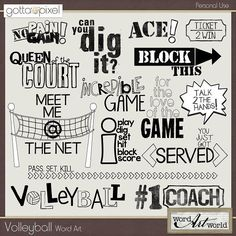 """Photo Shoot"" features a fun set of high-quality word art perfect for scrapping almost any photo or layout! This set includes 10 word art images, each saved as individual, transparent . Volleyball Shirts, Volleyball Crafts, Volleyball Images, Volleyball Posters, Volleyball Quotes, Volleyball Setter, Softball Pictures, Cheer Pictures, Volleyball Kit"