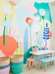Flowers in kids room | Flowers inspiration | Wallart | Decor | Colours | Ideas | Inspiration | Tips