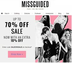 Up to 70% OFF at #Missguided and get 10% OFF using CODE: SALEONSALE upon checkout! #fashion