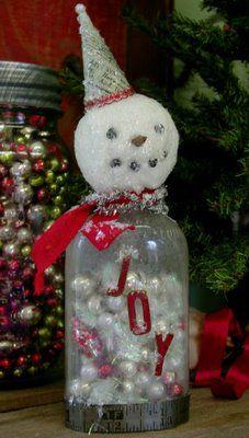 Snowman Jar with Bead inside