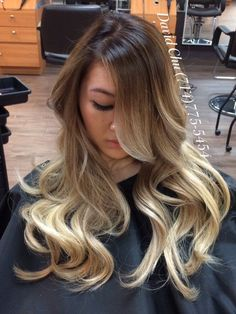 Hair 2001 - Westminster, CA, United States. Gorgeous asian ombré Balayage!!! :)). So happy I could give her this glowing color that she came all the way from the UK for!