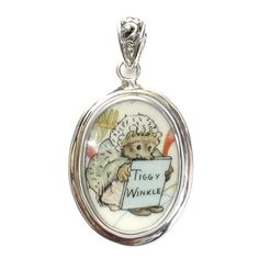 Broken China Jewelry Beatrix Potter Ms Tiggy Winkle with Pink Ribbon Sterling Oval Pendant