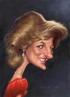 Caricatura dela ya mítica Princesa de Gales, Lady Di, realizada por el artista Amir Taqi.      Lady...