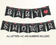 Banner Baby Shower Banner Chalkboard Baby Shower Banner Baby Shower Chalkboard Banner Black Pink digital print party ideas pdf jpg NIHJ1 - Digital Product #babyshowergifts #babyshowerideas