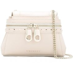 Almond nude leather front zip crossbody bag from Twin-Set. Color: Nude/neutrals.  Gender: Female.  Material: Leather/Metal (Other).