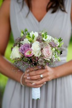 Fleuriste wedding- bridesmaids bouquet featuring roses, freesia, Eustoma and gyp. Elle wedding photography.