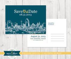 Love the Design. Save the Date  Custom City Skyline Postcards by NearAndDearDesigns, $27.00