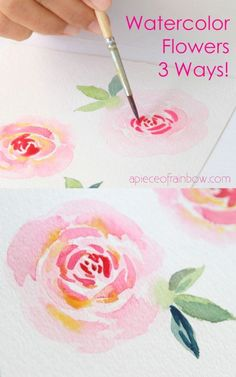Watercolor Flowers Discover Easy Watercolor Rose 3 Ways! (Best Techniques for Beginners) Paint beautiful watercolor rose 3 ways! Easy beginners tutorial & video with 3 essential watercolor flower techniques including brushstrokes & wet-on-wet! Watercolor Paintings For Beginners, Watercolor Art Lessons, Abstract Watercolor Art, Watercolor Trees, Floral Watercolor, Watercolor Techniques, Watercolor Background, Tattoo Watercolor, Watercolor Landscape