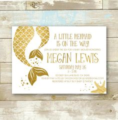 Mermaid Gold Baby Shower Invitation Mom and by CherryImprintDesign