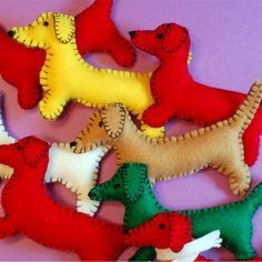 these handmade Dachshund Felt Ornaments are a sweet and festive nod to everyone's favorite Long Dog. Felt Christmas Decorations, Felt Christmas Ornaments, Handmade Ornaments, Dog Ornaments, Beaded Ornaments, Glass Ornaments, Animal Sewing Patterns, Felt Patterns, Felt Ornaments Patterns