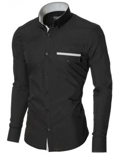 MODERNO Mens Slim Fit Casual Button-Down Shirt (MOD1413LS) Balck. FREE worldwide shipping! 30 days return policy