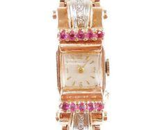 RETRO Ladies Watch CROTON 14k Rose Gold RUBY & Diamond