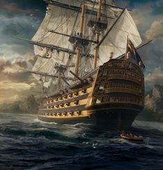 Beautiful Paintings by Sarel Theron Photos) - FunCage Pirate Boats, Pirate Art, Bateau Pirate, Old Sailing Ships, Sea Of Thieves, Hms Victory, Man Of War, Ship Paintings, Wooden Ship