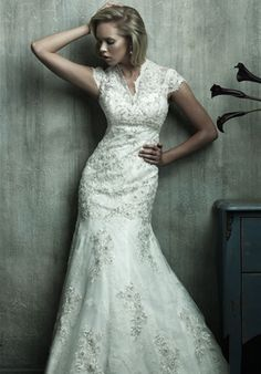 Love the silver lace accents on this wedding dress.