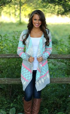 The Pink Lily Boutique - Mint and Pink Aztec Cardigan, $42.00 (http://www.thepinklilyboutique.com/mint-and-pink-aztec-cardigan/)