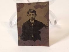 Vintage Antique Tintype Tin Type Photo Photograph Metal Boy Child Kid Suit Old