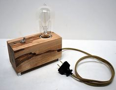 The Menlo Park Lamp- Single Edison Bulb in Ambrosia Maple Edison Lamp, Edison Lighting, Room Lamp, Desk Lamp, Desk Light, Lamp Light, I Love Lamp, Steampunk Lamp, Wooden Lamp