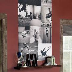 Beth- For Bolton's room-Soccer Collage Wall Mural Boys Bedroom Decor, Girls Bedroom, Bedroom Ideas, Football Bedroom, Boys Soccer Bedroom, Soccer Room Decor, Pottery Barn Teen, Girl Room, Wall Collage