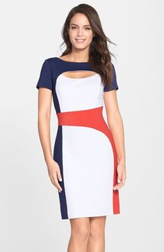 Love the cut, love the style, and love the color combo for spring.  Nue by Shani Keyhole Colorblock Ponte Sheath Dress available at #Nordstrom