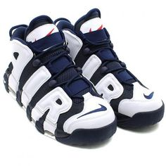 NIKE AIR MORE UPTEMPO MID NAVY/MID NAVY-WHITE-SPORT RED #sneaker