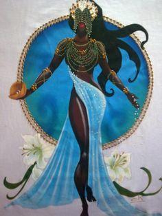 Maferefun Yemaya every day. African Mythology, African Goddess, African American Art, African Art, Black Women Art, Black Art, Yoruba Orishas, Yoruba Religion, Black Mermaid