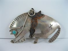 Lot 25 - RARE Old Navajo Silver & Turquoise Horse w Copper Saddle Pin / Brooch