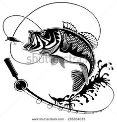 Isolated illustration of big peach fish in waves with fishing rod. Vector illustration can be used for creating logo and emblem for fishing clubs, prints, web and other crafts. - stock vector