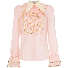 Gucci sheer sequin trim ruffle blouse ($2,200) ❤ liked on Polyvore featuring tops, blouses, pink, gucci blouse, long sleeve ruffle blouse, pink sequin top, ruffle blouse and pink blouse