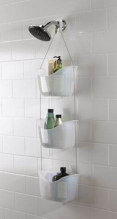 Save - Now Only The Umbra Bask Shower Caddy is a must for your bathroom! Use the hooks provided to hook the caddy over you shower rail or shower head.Umbra Bask White Hanging Bathroom Shower Tidy - White - at Victorian Plumbing Organization Prod Bathroom Organization, Bathroom Storage, Small Bathroom, Dorm Bathroom Decor, In Shower Storage, Red Bathrooms, Compact Bathroom, Hanging Shower Caddy, Hanging Basket