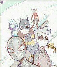 Spiderwoman, spider gwen, Batgirl, ultimate spiderman, Damian Wayne