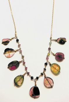Watermelon Tourmaline Statement Necklace! We love tourmalines! And its a birthstone for October Ladies! ;)
