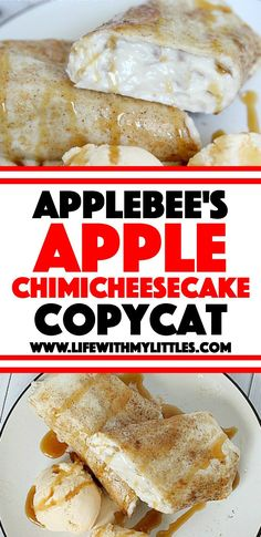 This Applebee's Apple Chimicheesecake copycat recipe tastes just like the original dessert from the restaurant! Almond Cheesecake Recipe, Apple Cheesecake, Cheesecake Recipes, Dessert Recipes, Bar Recipes, Dessert Ideas, Applebees Recipes, Copycat Recipes, Just Desserts