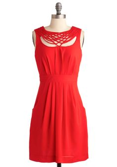 Elaborate for Me Dress. Your friends party has been made even more exciting by the appearance of your super-cute crush - who, as it turns out, has been eager to chat up the gal in the glam red dress. #red #modcloth