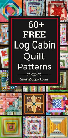 Free Quilt Patterns for Log Cabin Quilts. 60 designs, including log cabin blocks and full quilt tutorials. Many patterns great for use with jelly rolls and for scrappy quilts. Traditional and modern design ideas. Scrappy Quilt Patterns, Log Cabin Quilt Pattern, Beginner Quilt Patterns, Log Cabin Quilts, Scrappy Quilts, Easy Quilts, Quilting Tutorials, Quilting Projects, Quilting Designs