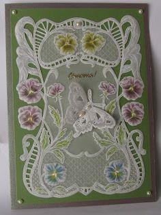 my cards: Открытка Пергамано (Парчмент) –  Фиалки и бабочка....