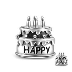 Birthday Cake Charm 925 Sterling Silver